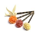 Summer Bouquet Bobby Pins Ivory Pink Orange Flowers Vintage Style Bird Garden Wedding