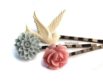 Flower and Bird Bobby Pins  - Pink Rose, Grey Mum, and Ivory Dove - Misty Morning Hair Pins, Lauren Collection by Liz Hutnick