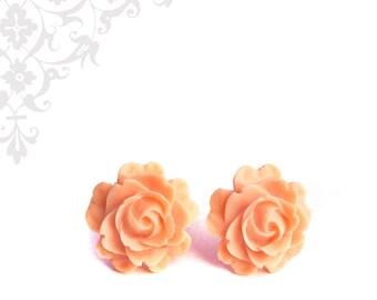 Elegant Peach Rose Earrings