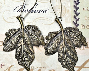 Bronze Leaf Earrrings. Antiqued Brass Finish Large Leaf Dangle Earrings. Boho Chic.