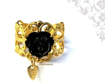Black Rose Filigree Ring, Black Flower Ring, Gold Finish, Bohemian