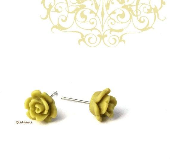 Mini Avocado Rose Earrings