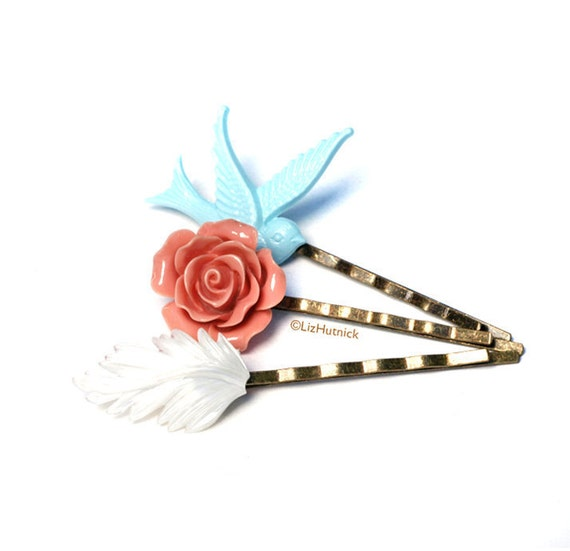 True Romance Bobby Pins - Flower Bobby Pins - Light Blue Dusty Pink White. Hair Accessories
