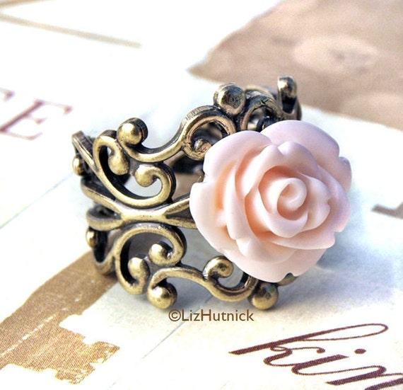 Beautiful Pale Pink Rose Ring - Antiqued Brass Filigree