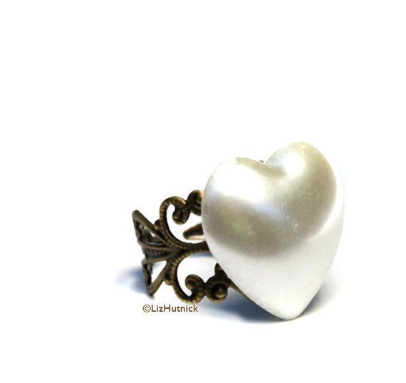 Clearance SALE Love Ring Pearlized Vintage Heart
