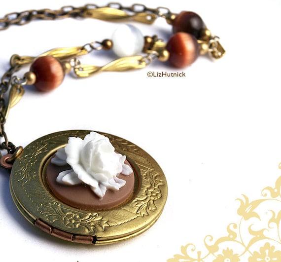 Rose Locket Necklace. Brass Locket Necklace. Statement Necklace