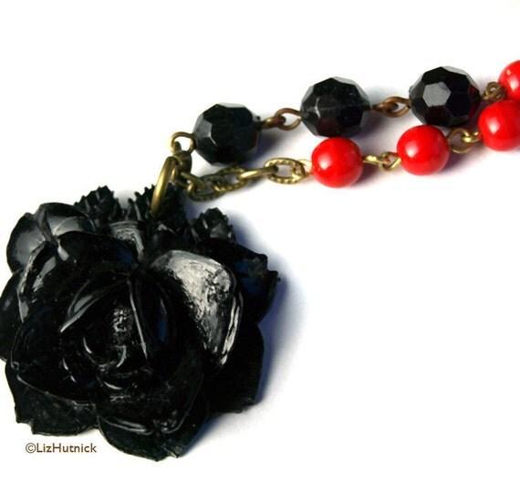 Black Rose Necklace. Resin Rose Jewelry. Vintage Style Gothic Statement Necklace.