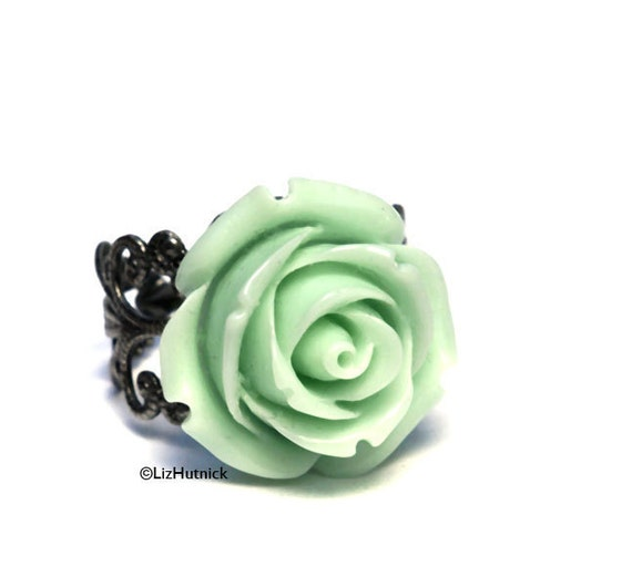 Black Friday SPECIAL. Mint Rose Ring - Adjustable Ring. Flower Ring. FREE SHIPPING