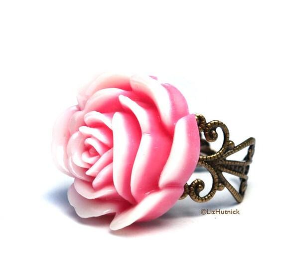 Pink and White Peony Ring. Adjustable Ring. Resin Flower Ring. Flower Filigree Ring