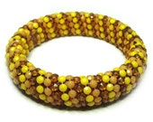 Vintage 60s Yellow Bangle . Beaded Bangle . Plastic Bangle . 60s Bracelet . Vintage Bangle