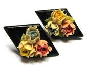 Vintage 40s Flower Earrings . Bread Dough Earrings . Clay Earrings . Wood Earrings . 40s Earrings
