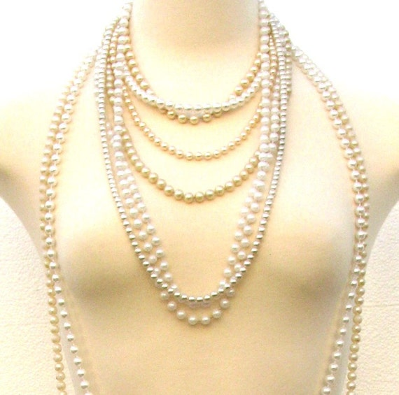 Vintage Lot of 9 Faux Pearl Necklaces
