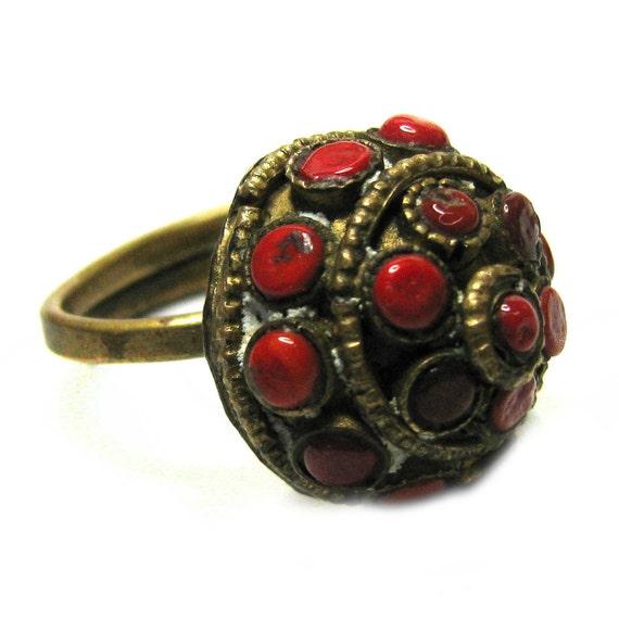 Vintage 60s Cocktail Ring . Boho Ring . Brass Ring . Red Ring . 60s Ring