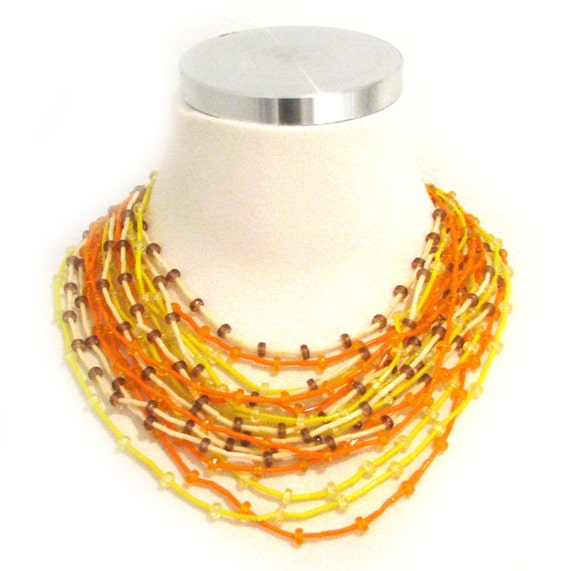 Vintage 60s Orange Necklace . Glass Necklace . Yellow Necklace . 60s Necklace . 18 Strands . (Free Shipping USA) . Bree's Vintage