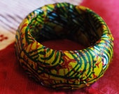 Green Swirls Textile Wrapped Bracelet