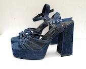 SALE..........90s denim PLATFORM strappy shoes. heels. sandals - us 7.5, eur 38, uk 5