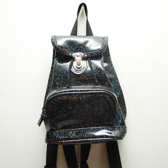 90s small black glossy GLITTER backpack rucksack
