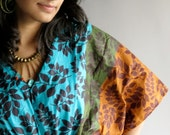 Blue leafy Kaftan Top - Perfect for outings to be worn over jeans or leggings, lounges, beaches, spa robes, to be mums, best gift for her