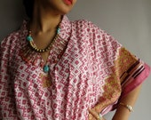 Pink Green Border Kaftan Robe - Perfect as getting ready robes, beach coverup, dressing gown, lounge wear