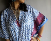 Blue Checks kaftan - Perfect long dress, beachwear, spa robe, make great Christmas, Valentine Day, Anniversary or Birthday gifts
