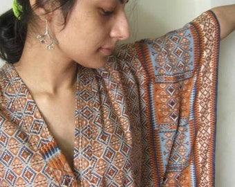 Blue and Rust border Cotton Kaftan
