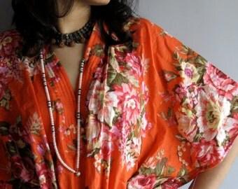 Orange Roses kaftan - Perfect long dress, beachwear, spa robe, make great Christmas, Valentine Day, Anniversary or Birthday gifts