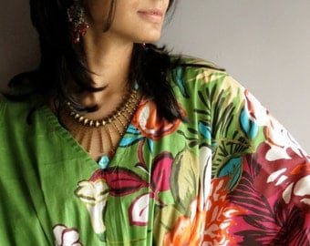 Green Magenta Kaftan Top - Perfect for outings to be worn over jeans or leggings, lounges, beaches, spa robes, to be mums, best gift for her