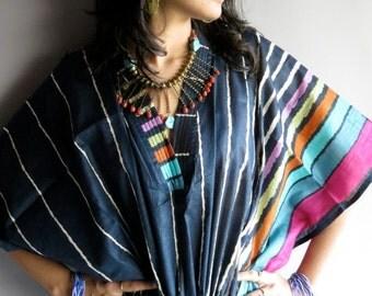 Dark Blue kaftan - Perfect long dress, beachwear, spa robe, make great Christmas, Valentine Day, Anniversary or Birthday gifts