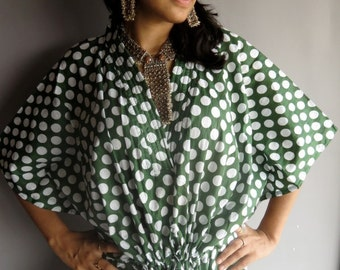 Green White Retro 70s Inspired Hostess Gown Polka Dot Kaftan - Dressing gown, lounge wear, beach cover up, vintage fashion dress, Great Gift