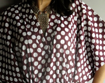 Plum White Retro 70s Inspired Hostess Gown Polka Dots Kaftan - Dressing gown, lounge wear, beach cover up, vintage fashion dress, Great Gift