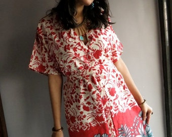Red Floral front button closure kaftan robe perfect as getting ready robes, beach coverup, dressing gown, loungwear, gift for her