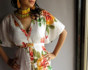 White Floral front button caftan perfect as getting ready, beach coverup, dressing gown, loungwear, gift for her