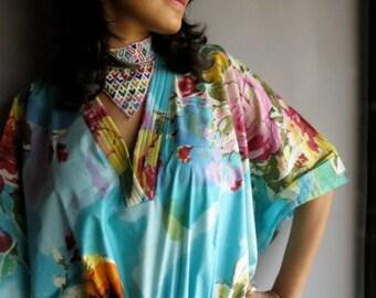 Light Blue Floral caftan - Perfect long dress, beachwear, spa robe, make great Christmas, Anniversary or Birthday gifts