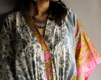 Gray Pink - Nursing Kaftan - Perfect as loungewear, as beachwear, gift for moms and to be moms and more
