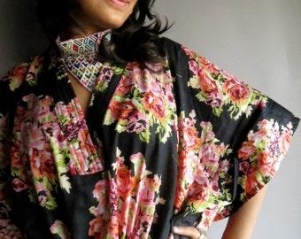 Black Bouquet kaftan - Perfect long dress, beachwear, spa robe, make great Christmas, Valentine Day, Anniversary or Birthday gifts