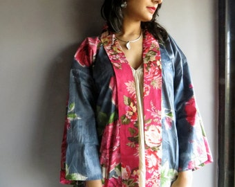 Gray Fuchsia Floral Haori - Japanese Kimono Full Sleeves Jacket - Perfect for outings to be worn over jeans or leggings, best gift for her