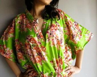 Green floral kaftan - Perfect long dress, beachwear, spa robe, make great Christmas, Valentine Day, Anniversary or Birthday gifts