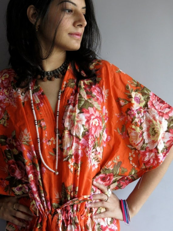 Orange Roses kaftan - Perfect long dress, beachwear, spa robe, make great Christmas, Valentine Day, Anniversary or Birthday gifts