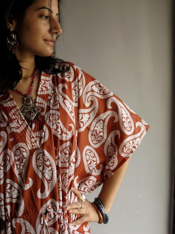 Brown Paisley kaftan - Perfect long dress, beachwear, spa robe, make great Christmas, Valentine Day, Anniversary or Birthday gifts