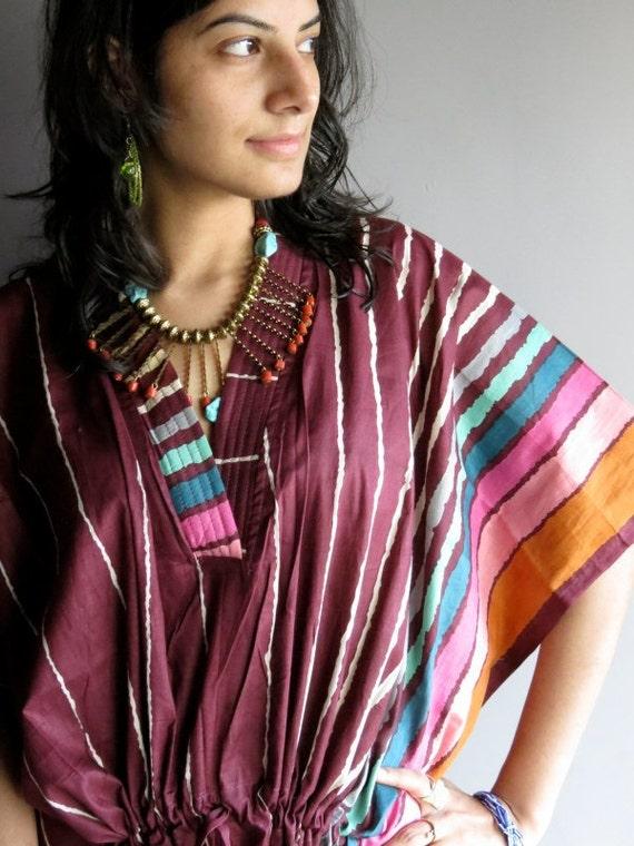 Burgundy kaftan Robe - Perfect long dress, beachwear, spa robe, make great Christmas, Valentine Day, Anniversary or Birthday gifts