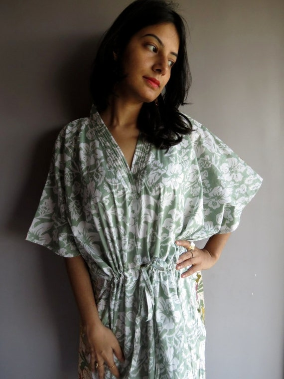 Light Green front Multicolored Back Short kaftan - Perfect as beachwear, spa robe, makes great Valentine Day, Anniversary or Birthday gifts