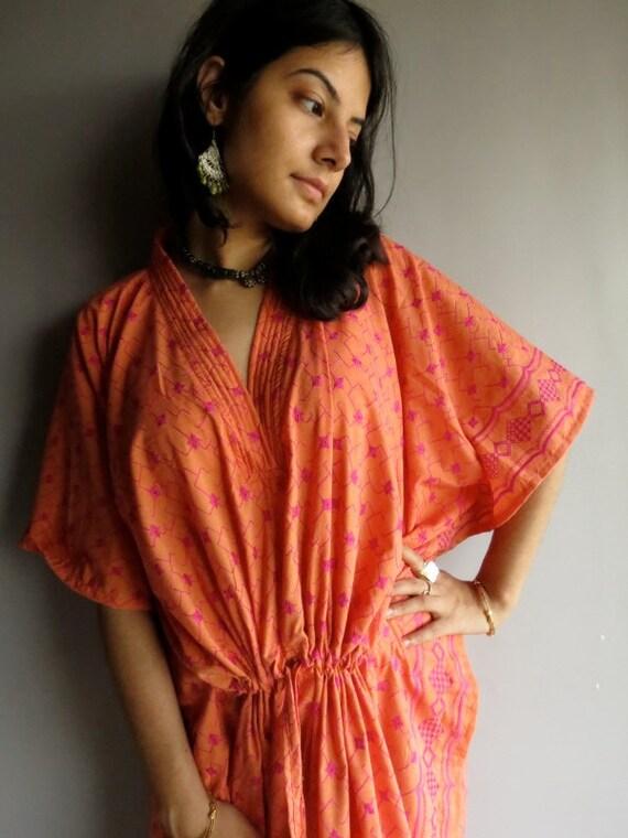 Yellow Fuchisa Eyelet Kaftan 60s 70s Hostess Gown caftan - Dressing robe, lounge wear, beach cover up, vintage fashion dress, Great Gift