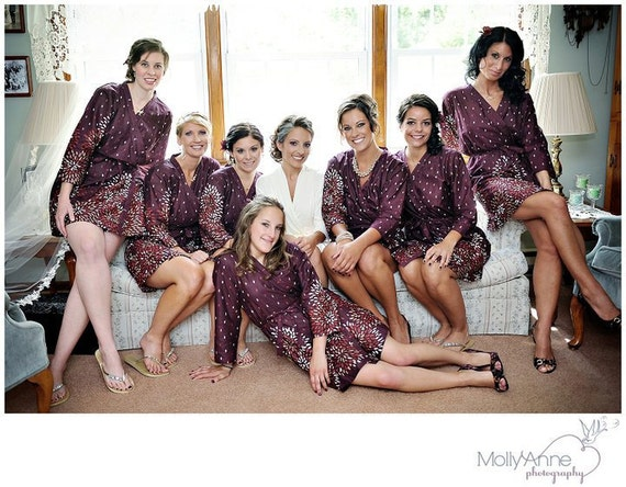 Wine Themed Bridesmaids Robes Kimono Cross-over Robe Wrap Perfect bridesmaids gift, getting ready robes, Bridal shower favors, photo props