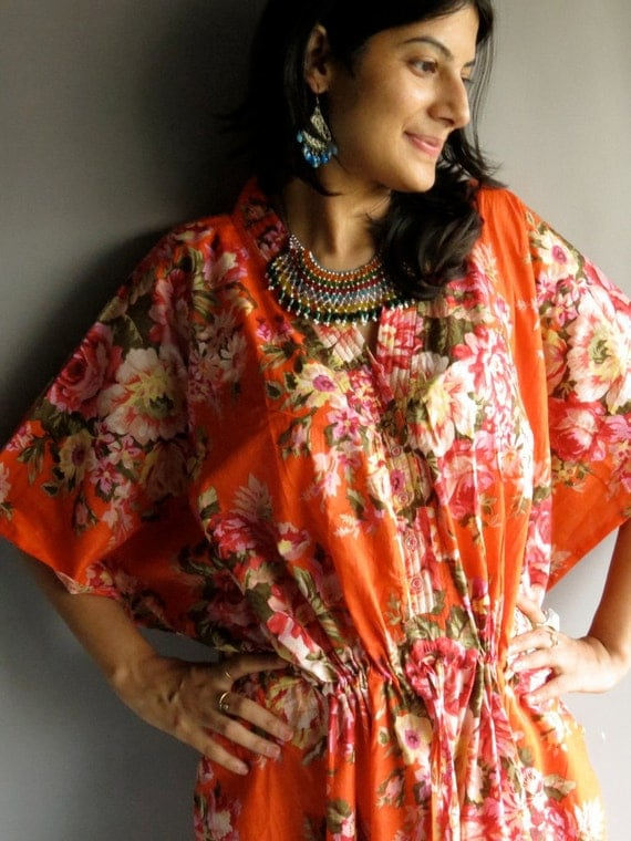 Orange Nursing Maternity Hosptial Gown Delivery Kaftan - Perfect as loungewear, as getting ready, as beachwear, gift for moms and to be moms