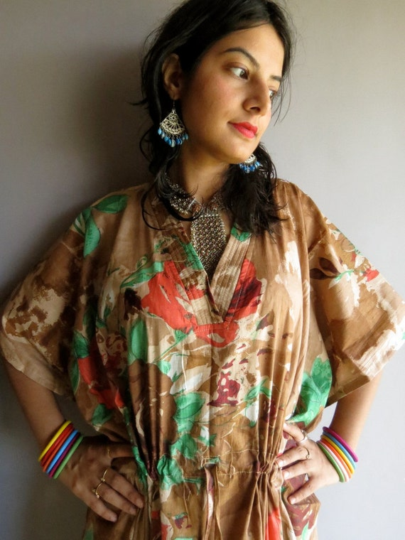 Brown Multicolor Floral kaftan - Perfect long dress, beachwear, spa robe, make great Christmas, Valentine Day, Anniversary or Birthday gifts