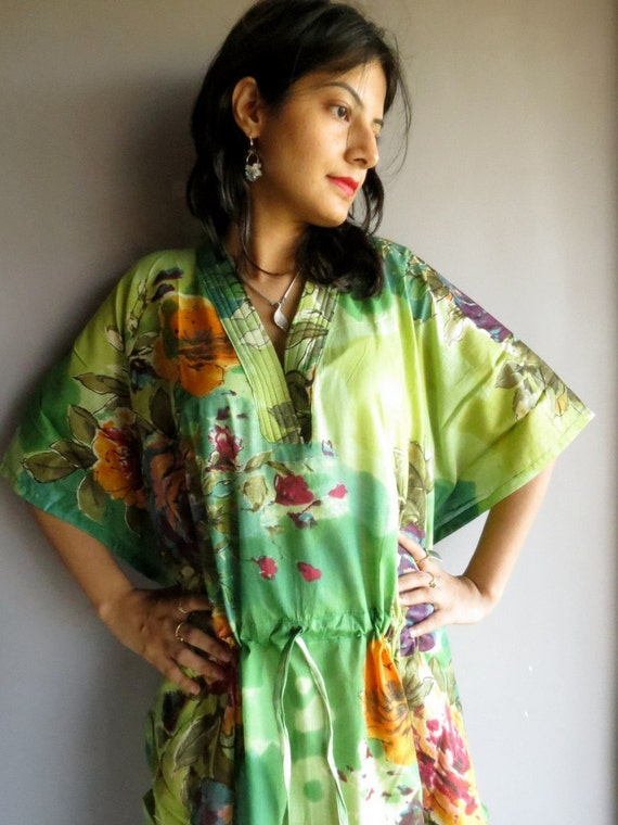 Green Multicolor floral kaftan - Perfect long dress, beachwear, spa robe, make great Christmas, Valentine Day, Anniversary or Birthday gifts