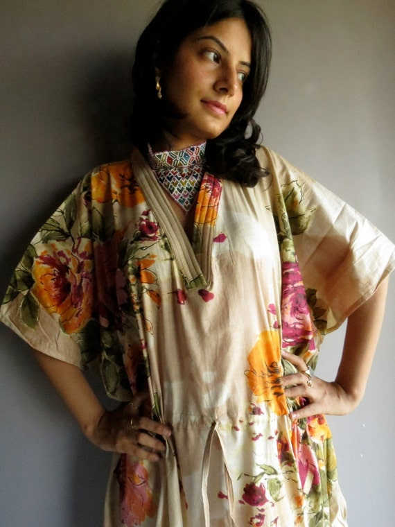 Beige Floral Caftan - Perfect long dress, beachwear, spa robe, make great Christmas, Valentine Day, Anniversary or Birthday gifts