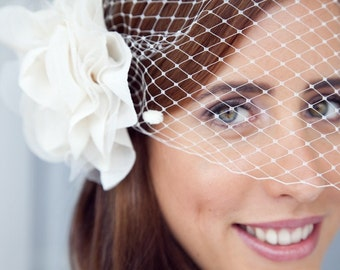 Chenille Dotted Birdcage Veil *Flower not included