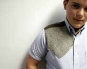 Blue Striped Shirt with Grey Brown Knit and Leather Shoulder Patch SIze 16 (teens/boys) by E W McCall