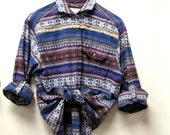 Vintage Button Up Shirt with Bold Stripes for Women Size Medium from the E W McCall Line for Women
